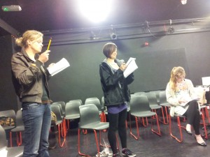 Henri Merriam, Carmina Bernhardt and Leila Sykes in the first read-through of Romeo and Juliet
